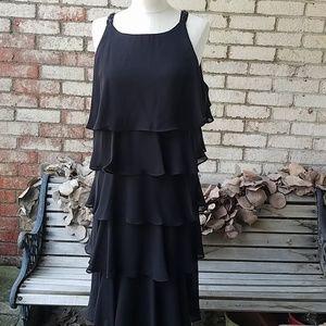 Black chiffon flapper-style ruffled dress